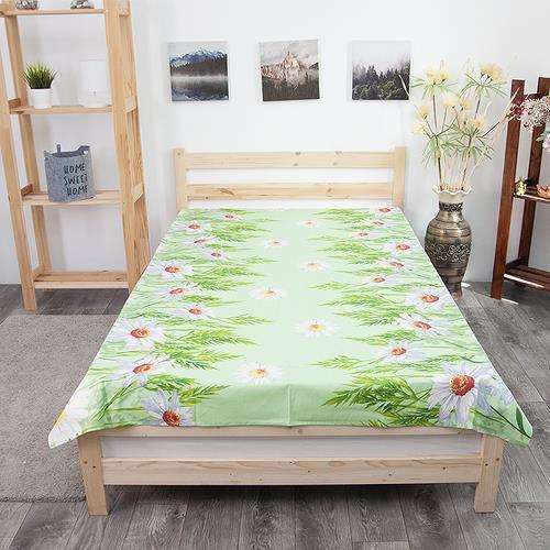 Простынь бязь ГОСТ 1480/1 Ромашки цвет зеленый 1.5 сп