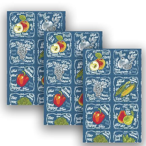 Набор вафельных полотенец 3 шт 35/75 см 3022-1 Фреш-бар цвет синий